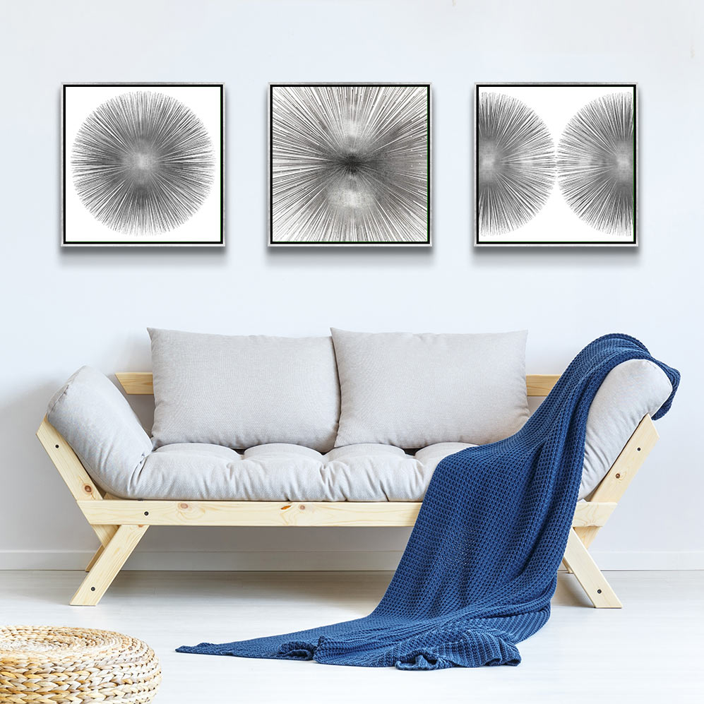 Left to Right: Silver Sunburst I, Radiant Silver, Silver Sunburst II by Abby Young