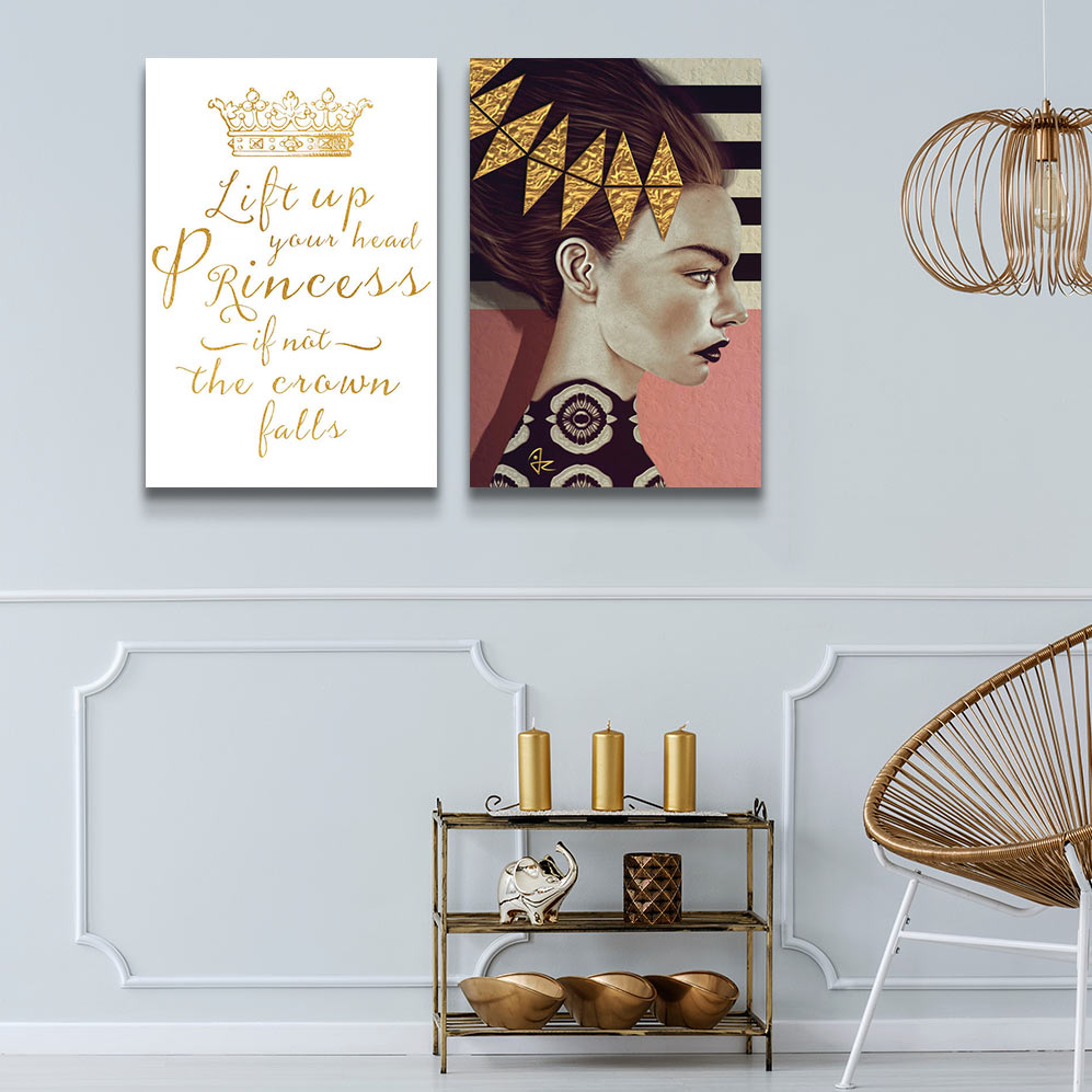 Left to Right: Lift Your Head Princess Gold Crown by Amanda Greenwood; Gold Leaf by Giulio Rossi