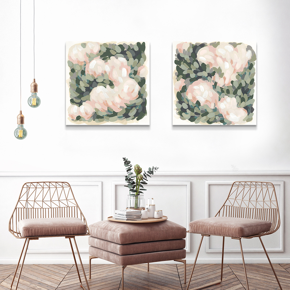 June Erica Vess' works Blush & Celadon I and II in a rose gold living room