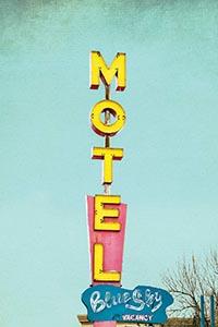 Blue Sky Motel, Little Cabin Art Prints