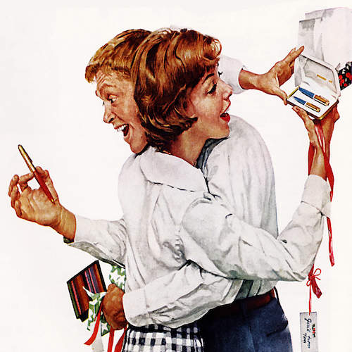 They Gave Each Other a Parker 61 Pen, Canvas Print by Norman Rockwell