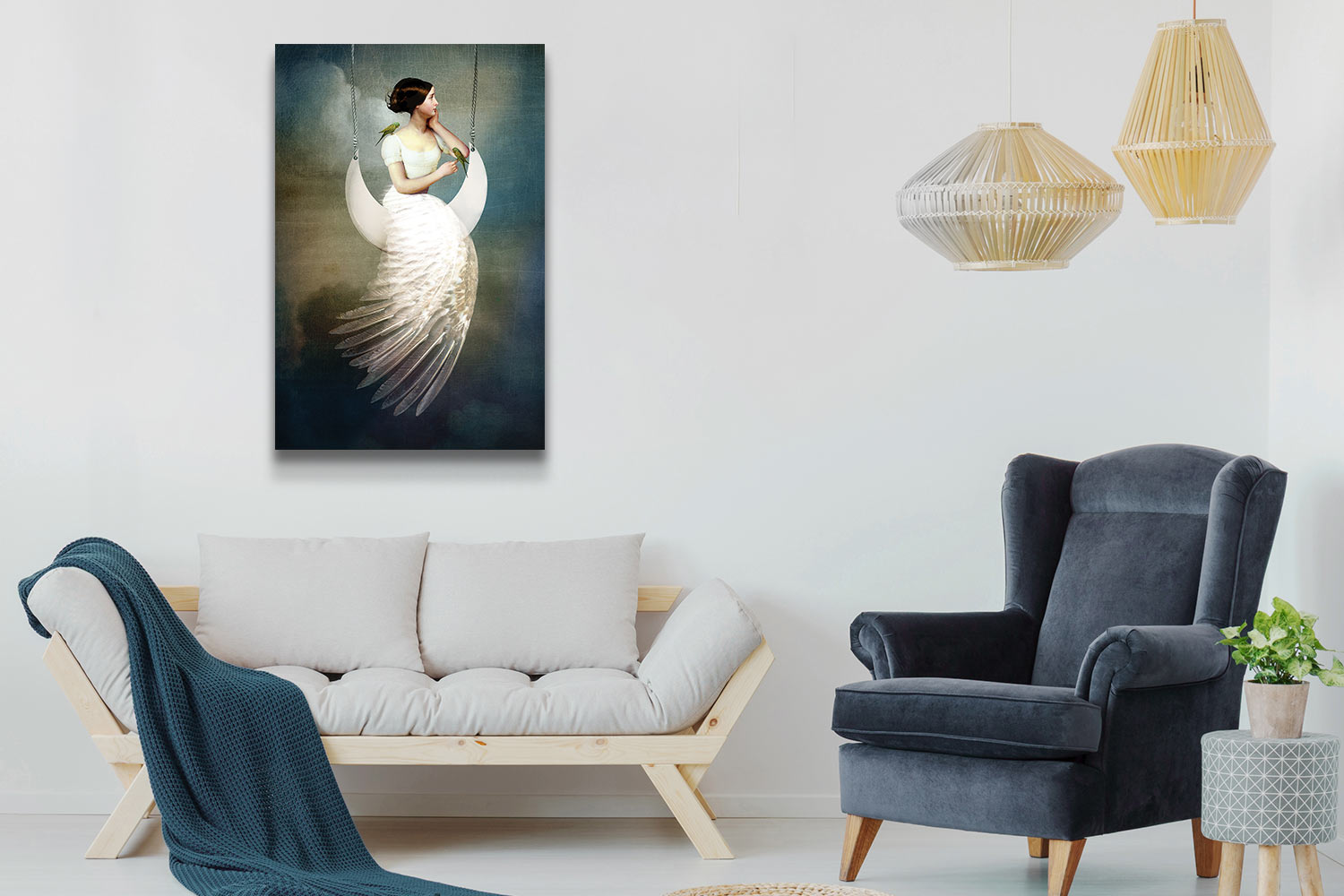 """A beige and blue living area with """"To The Moon and Back"""" canvas art print by Catrin Welz-Stein"""