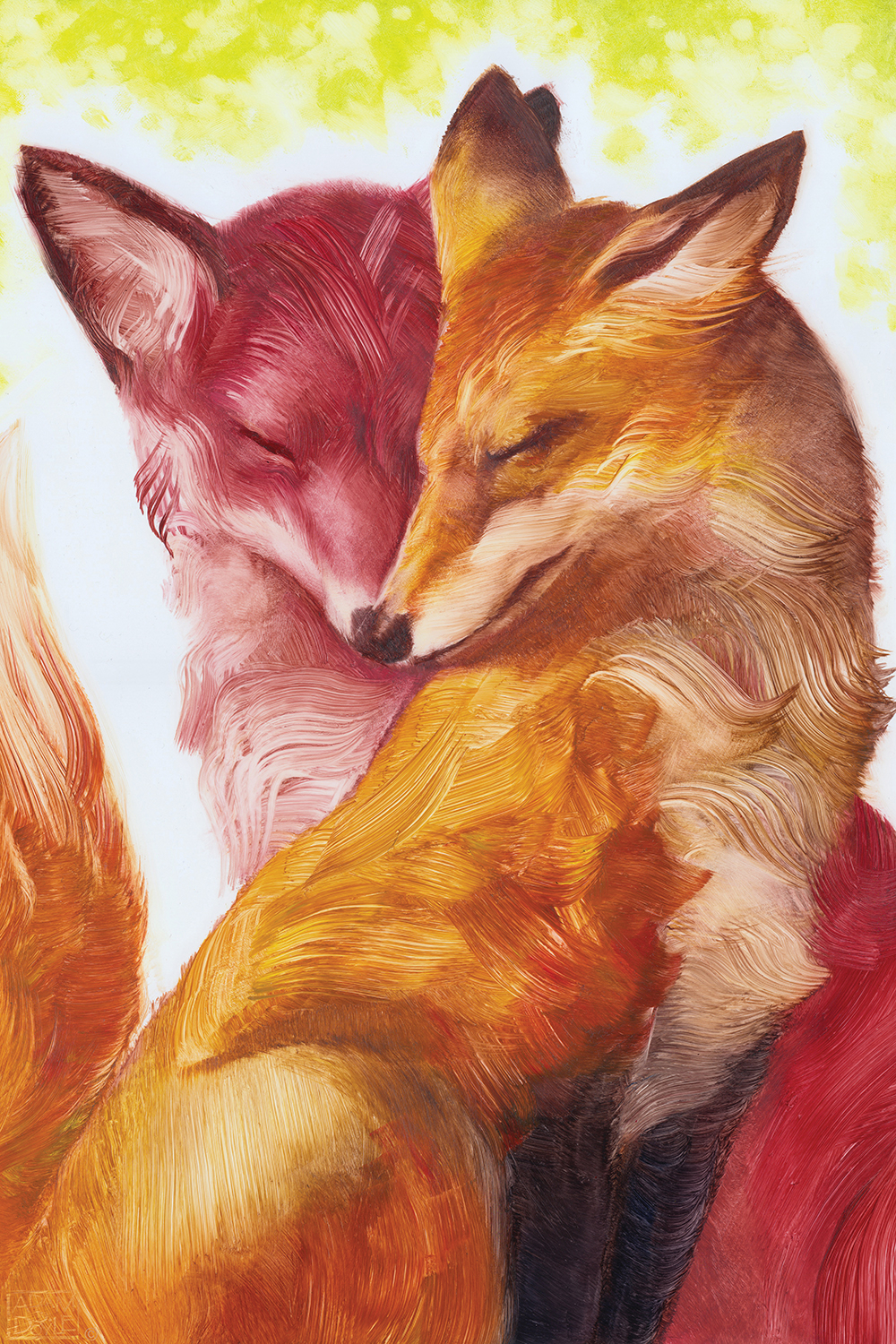 a red and orange fox touching snouts in an embrace