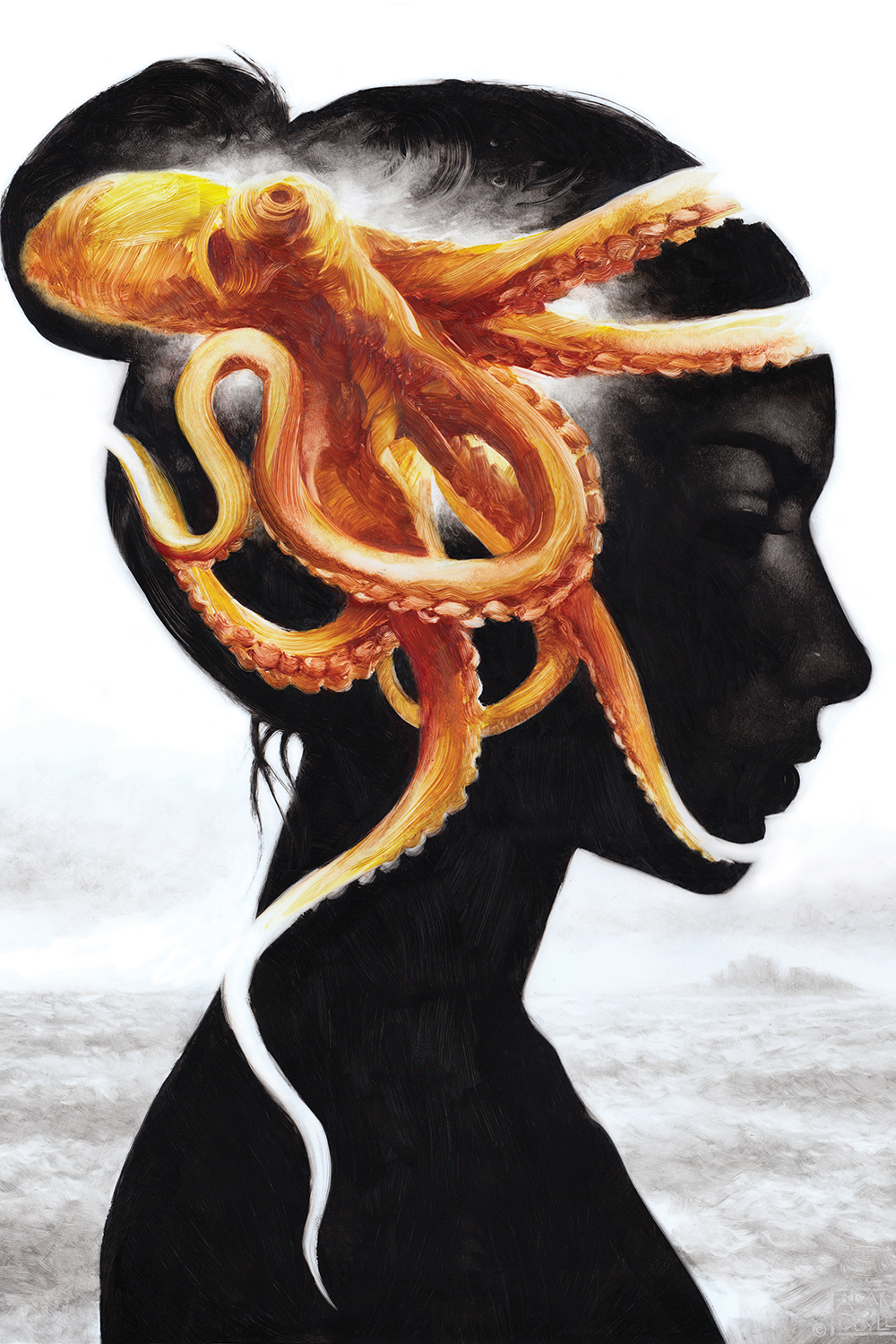 a silhouette of a woman with an orange squid on her head