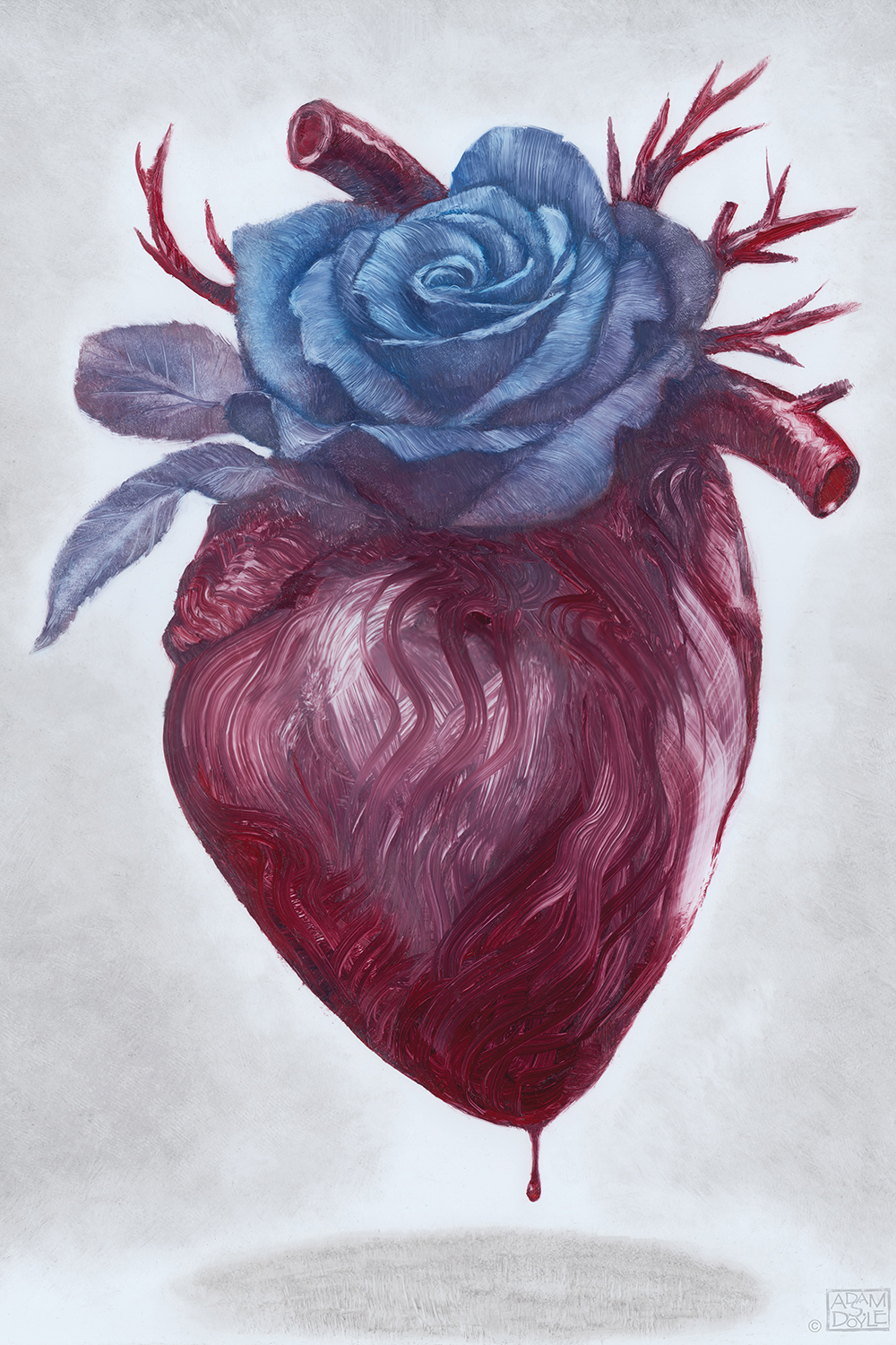 an anatomical heart dripping blood with a large blue rose
