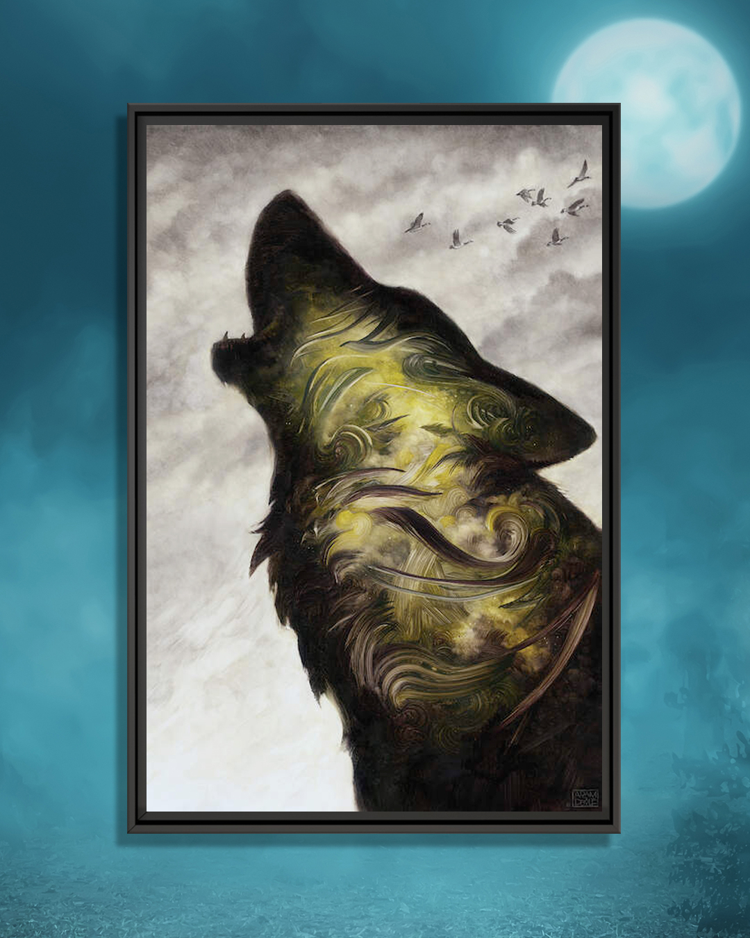 a howling wolf with green and gray swirls on fur and birds flying in distance