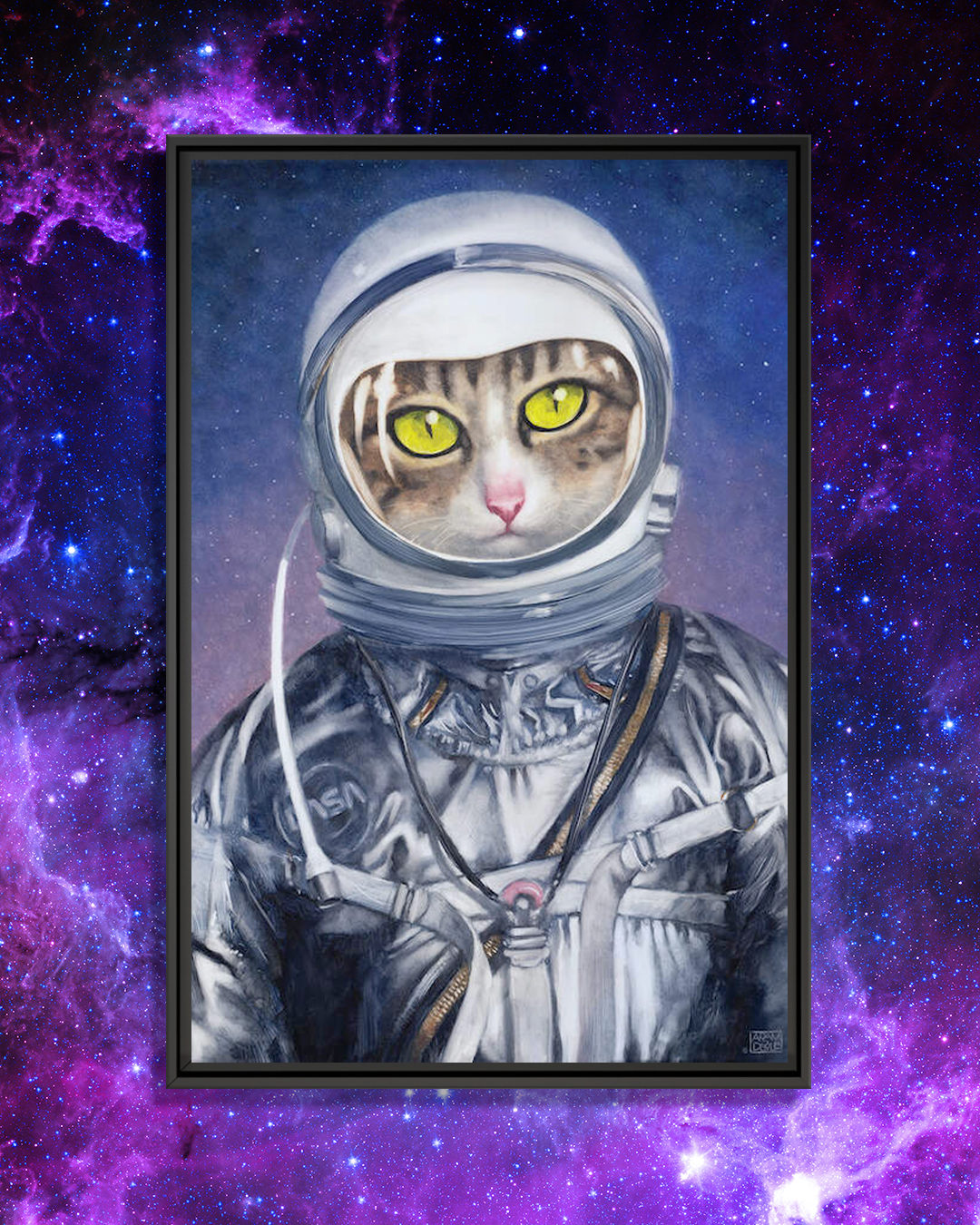 a cat with green eyes wearing an astronaut suit in space