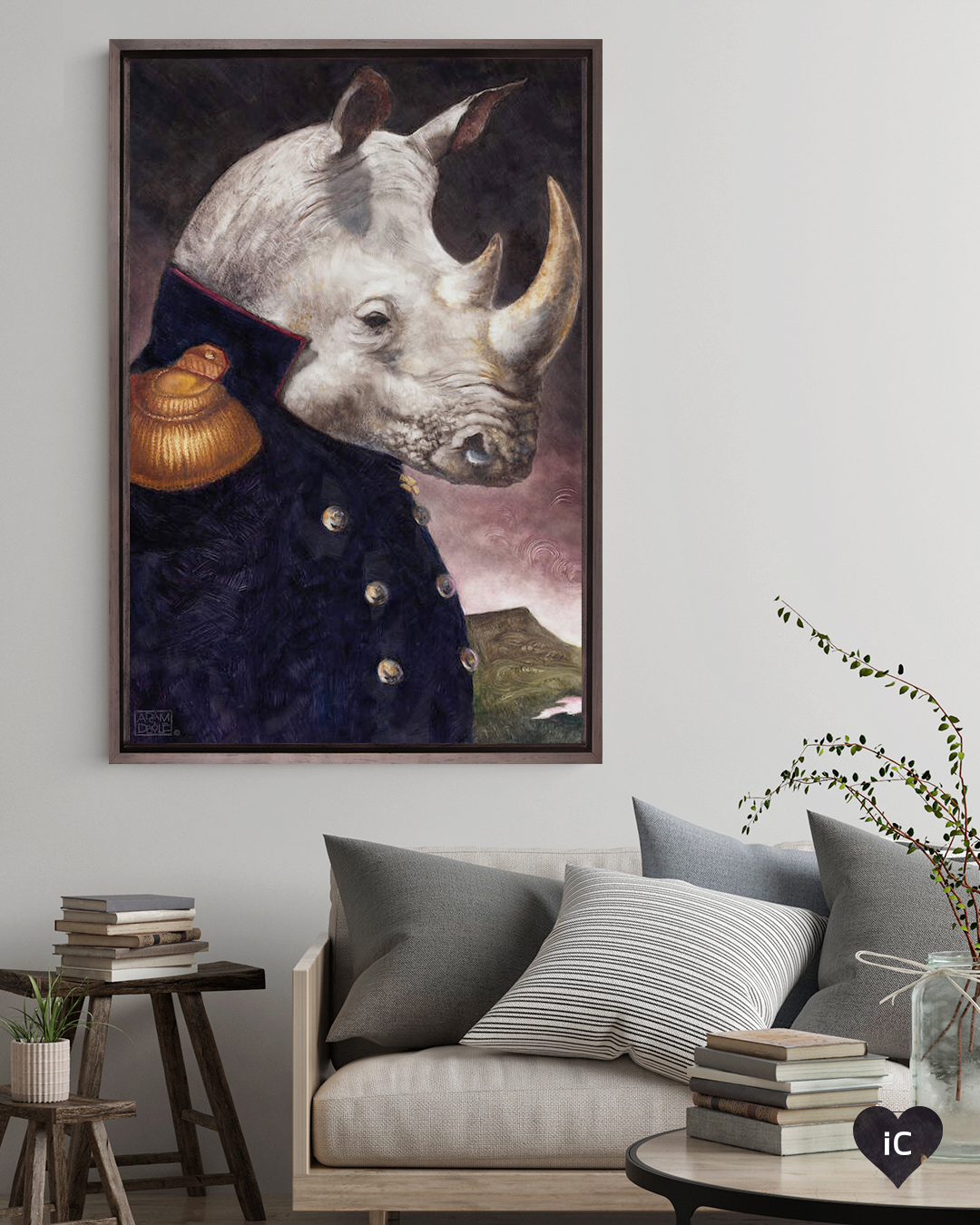 a portrait of a standing rhino wearing a general's jacket
