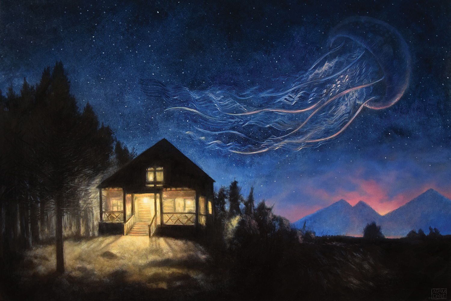a cabin in the woods at night with a large jellyfish in the sky