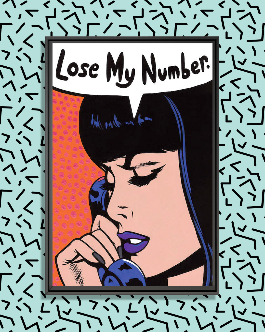 """retro style comic print of black haired woman with purple lipstick saying into a telephone """"lose my number"""""""