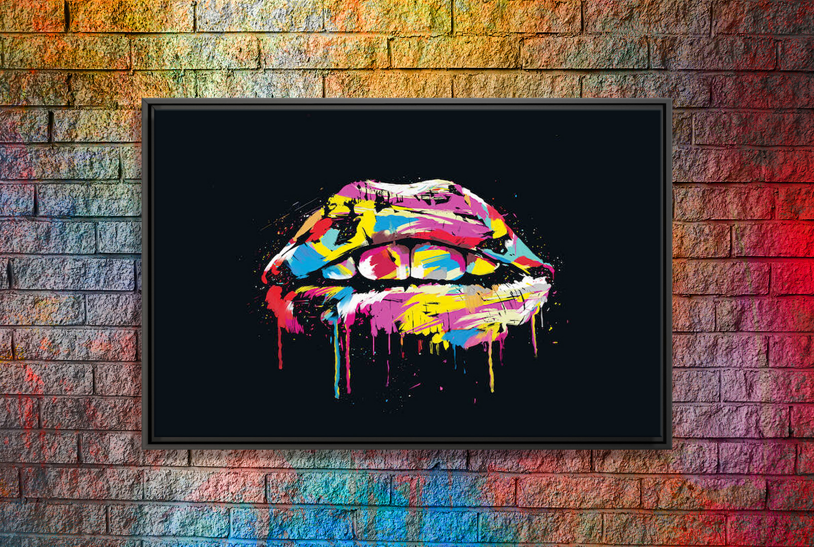 painted mouth on black backdrop with purple, blue, yellow, white, and red paint swipes across teeth and lips
