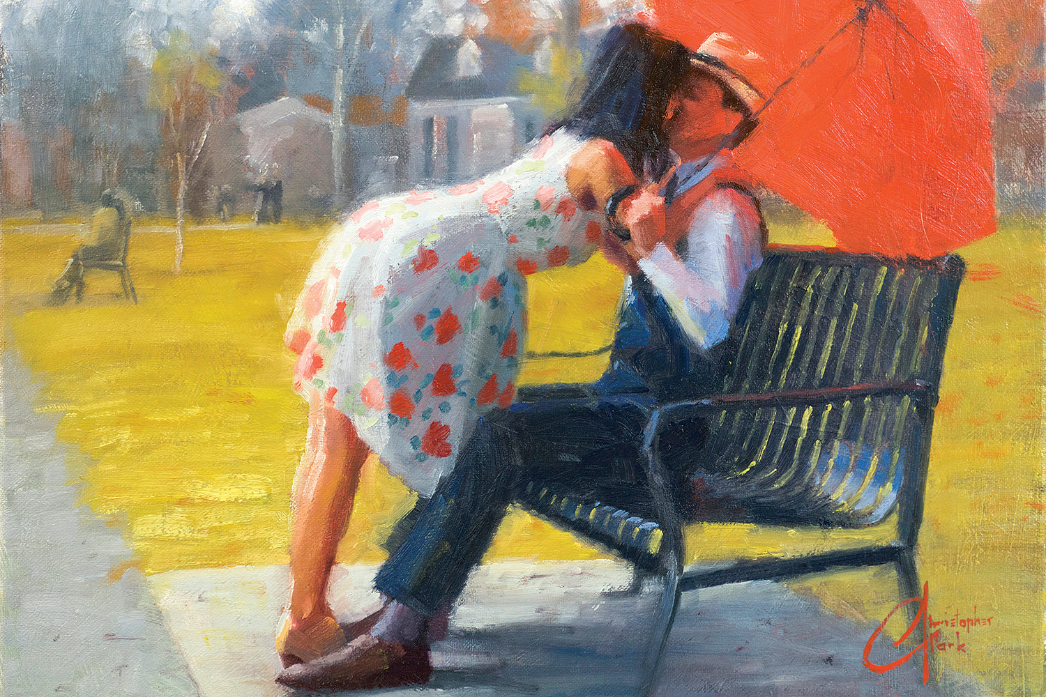 a man sitting on a bench in a suit and hat holding a red umbrella with a woman in a dress leaning over and kissing him