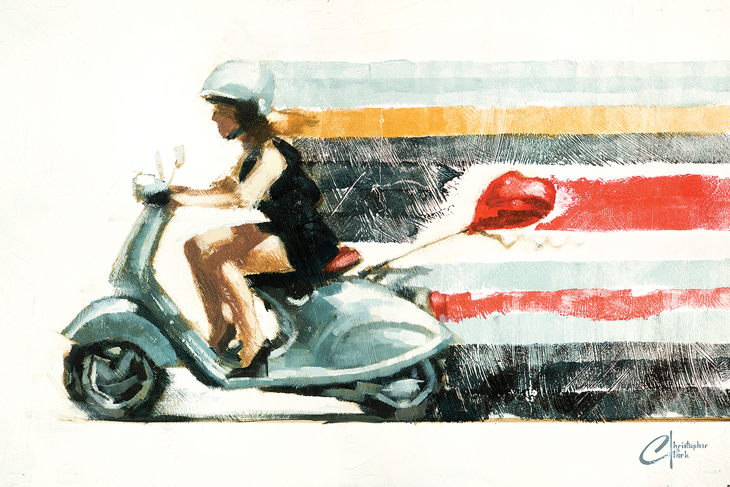 a woman in a black dress and heels on a moped with a heart shaped balloon tied behind