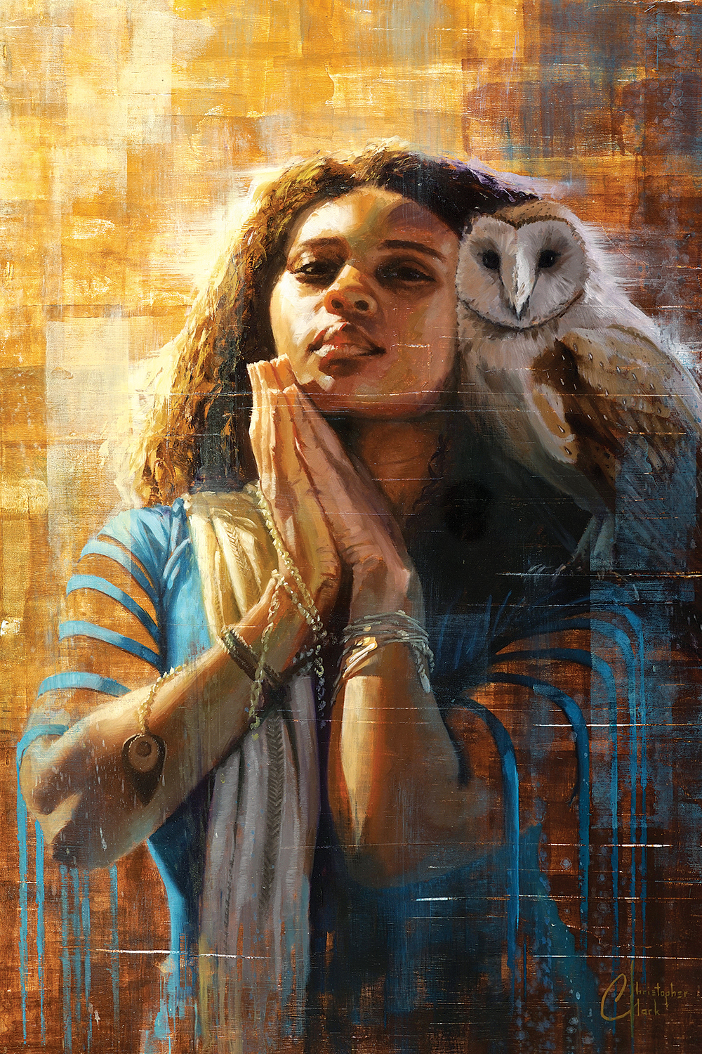 a woman wearing a blue dress and gold scarf with hands folded in prayer and an owl on her shoulder