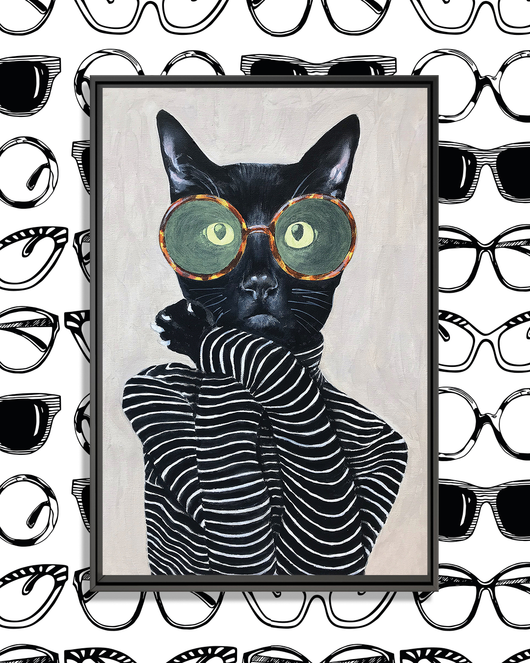 black cat wearing striped turtle neck and round glasses