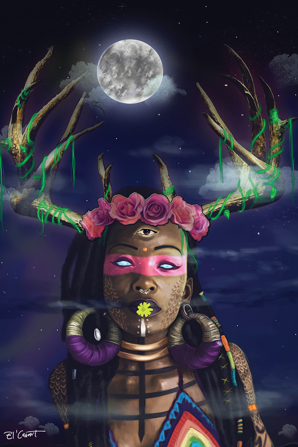 woman with antlers and third eye wearing crown of roses, giant earrings, and rainbow top with full moon in view