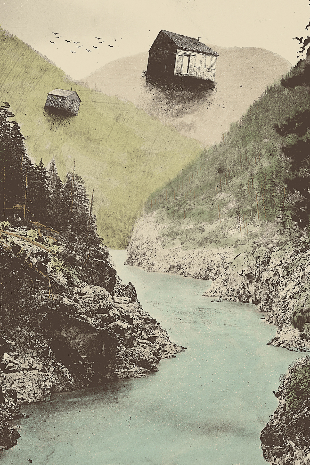 small cabins floating out of the woods over a river