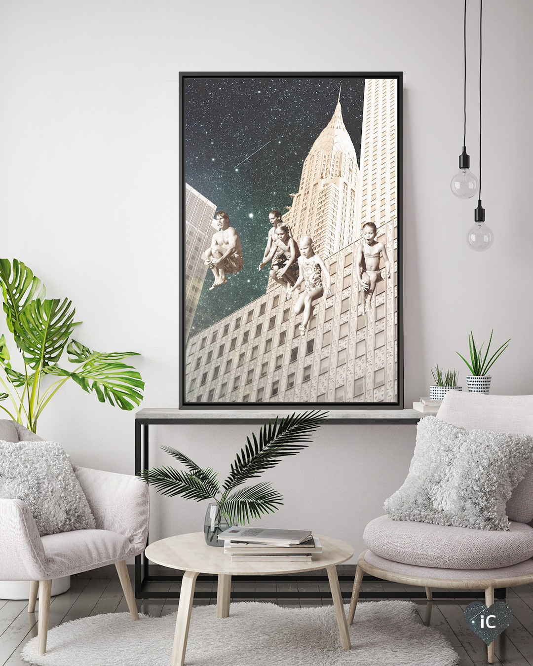 kids cannon balling off a high-rise building with cosmic starry sky in view