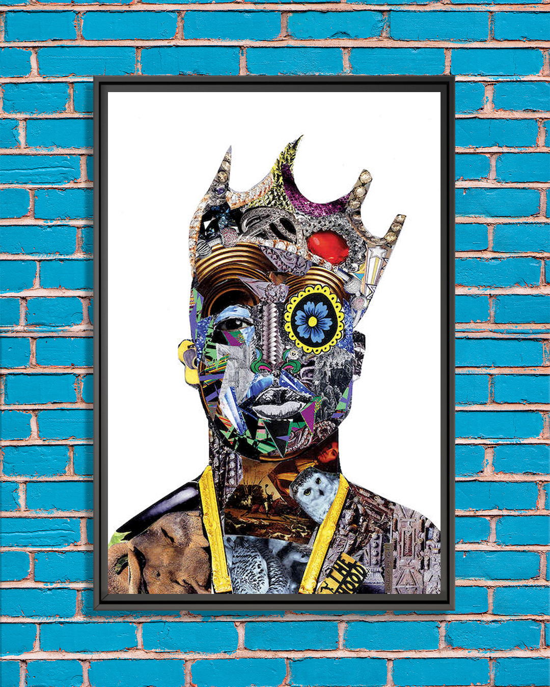 portrait of Tupac wearing a crown made of collaged pieces