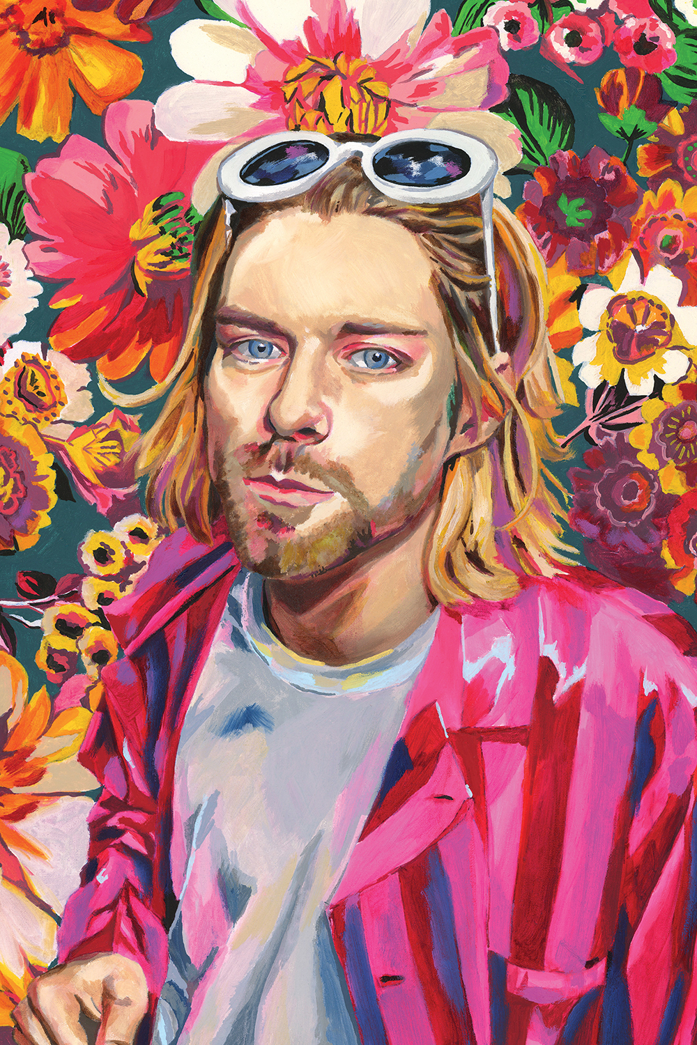 Kurt Cobain wearing white t-shirt, pink button down, and white sunglasses in front of a floral pattern