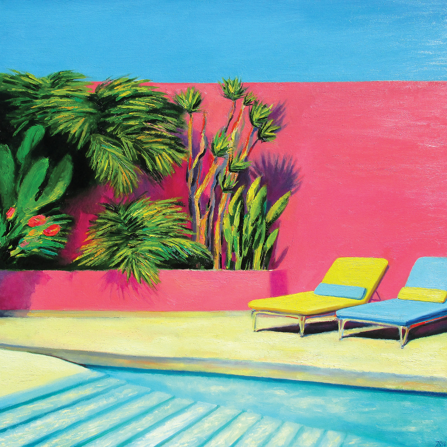 two lounge chairs against pink wall with green plant life and stairs into the pool