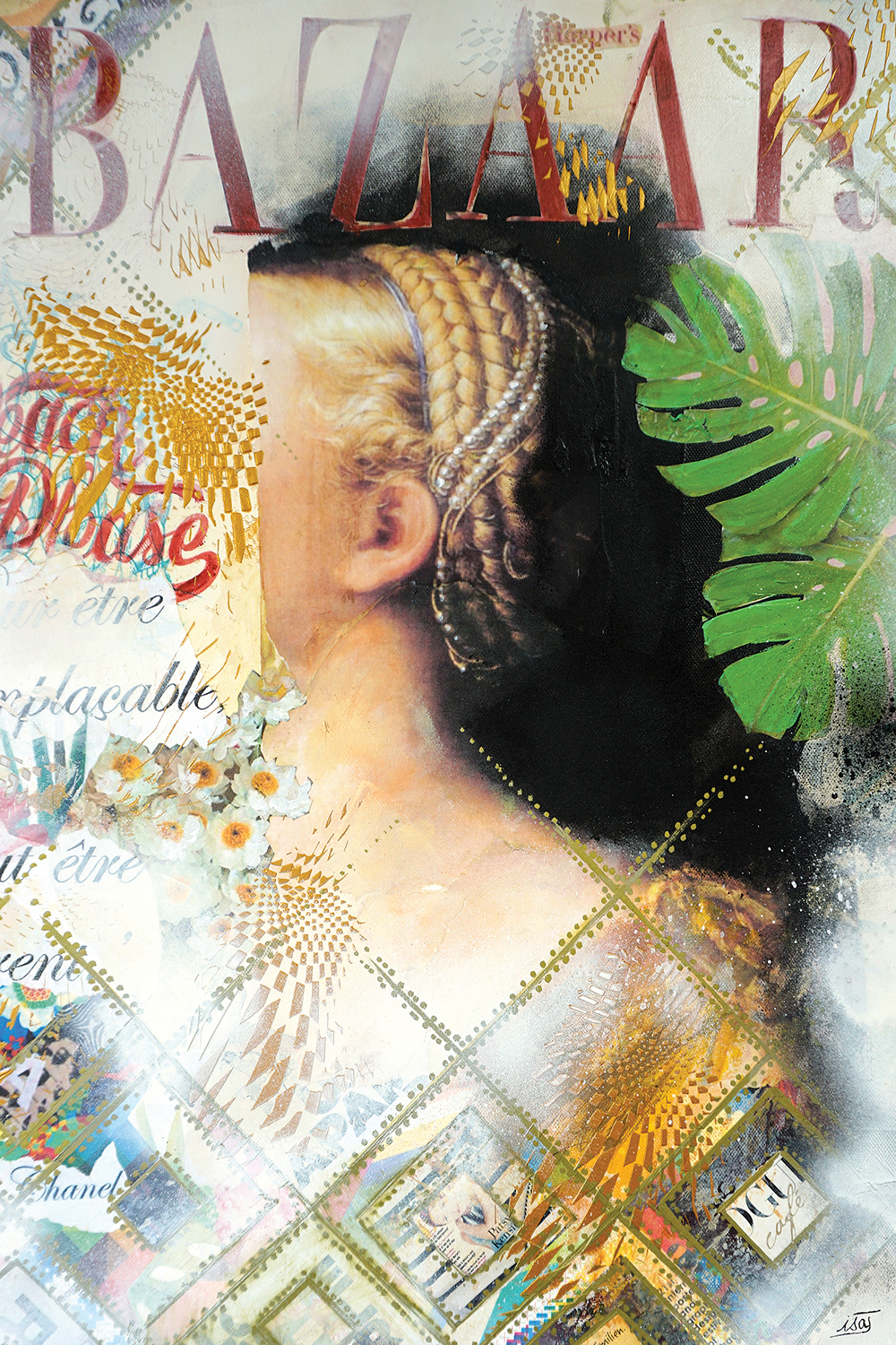"woman with braids and pearls in hair looking away with face obscured with remnants of other images, a leaf, and ""bazaar"""