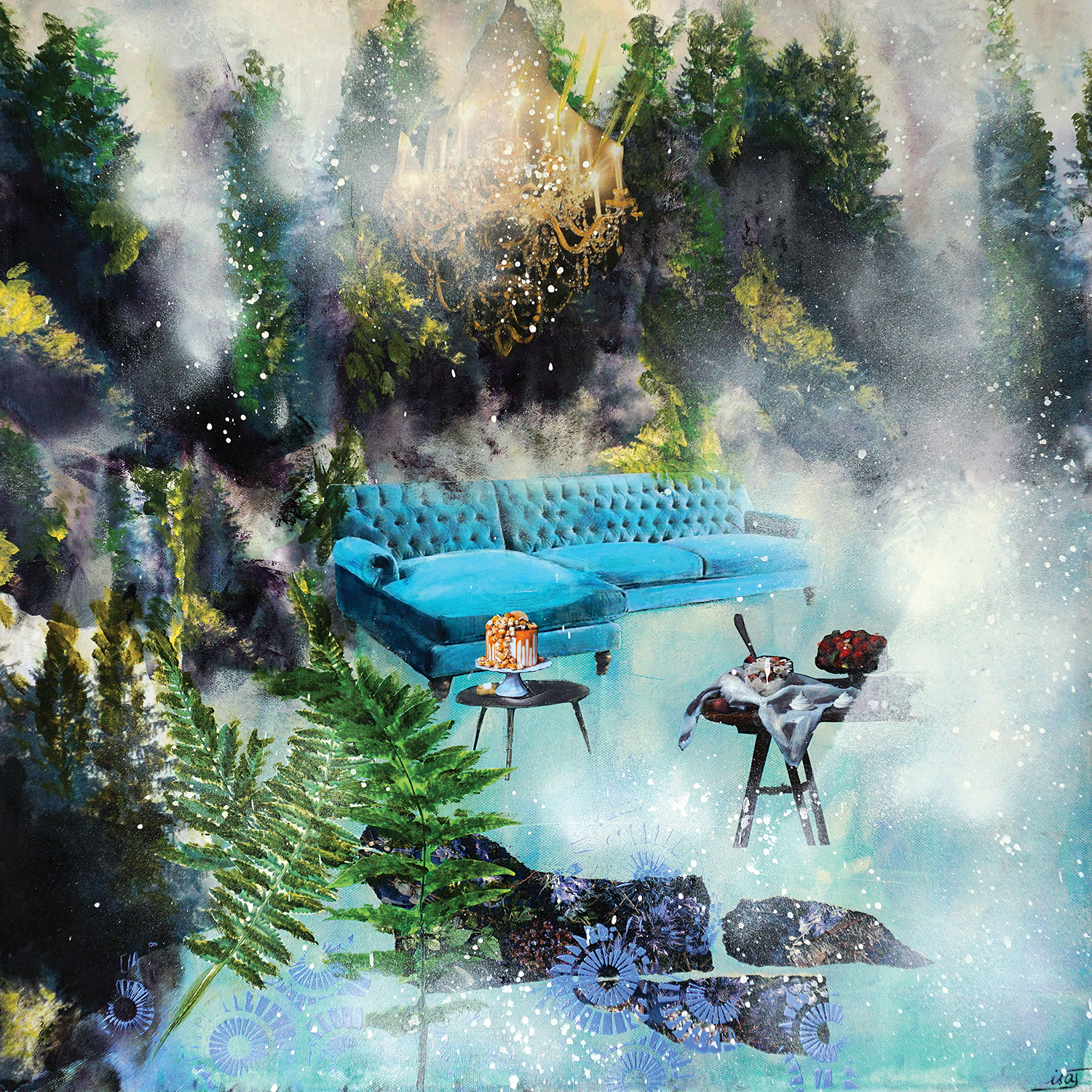 blue sofa with cake on table and chandelier in forest