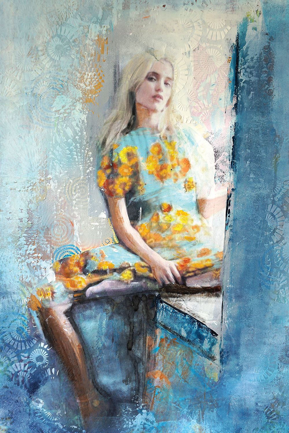 blonde woman sitting in window wearing dress with yellow flowers