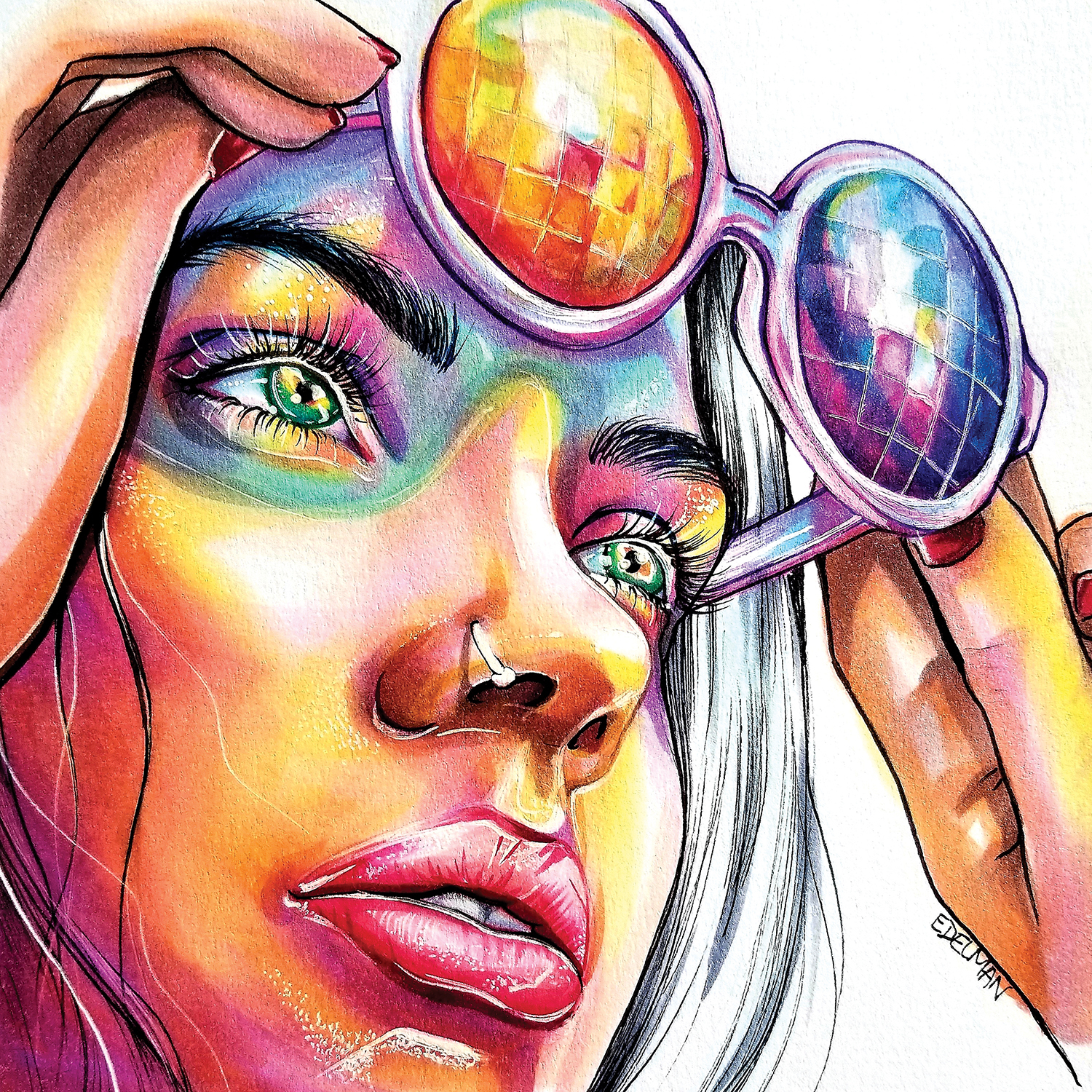 girl with nose ring lifting colorful sun glasses off eyes