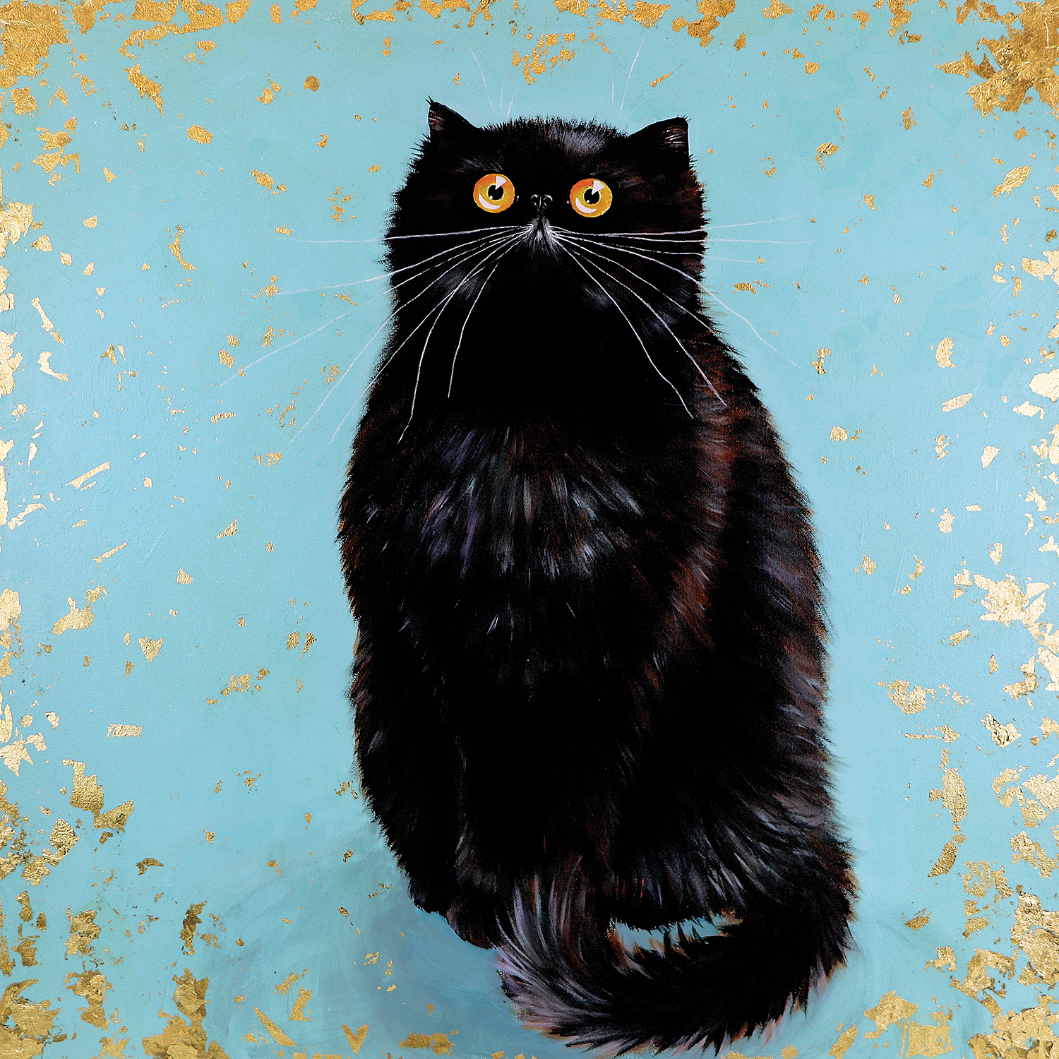 black cat with wide eyes and long whiskers on blue backdrop with gold edging