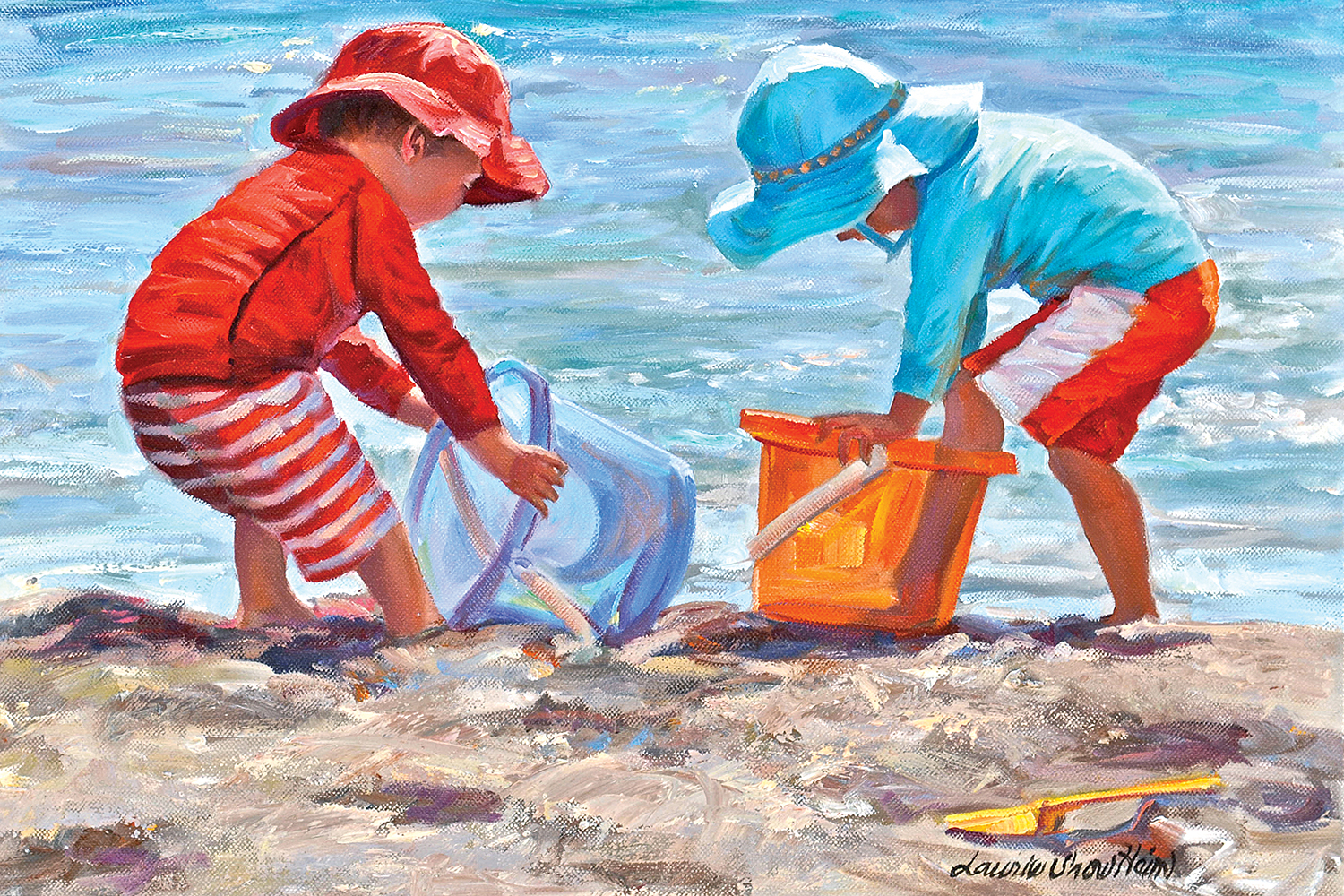 two kids in sun hats and bathing suits playing with pails and shovels on the beach
