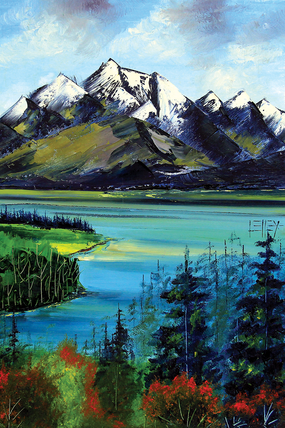 brightly colored painting of mountains, trees, and lake
