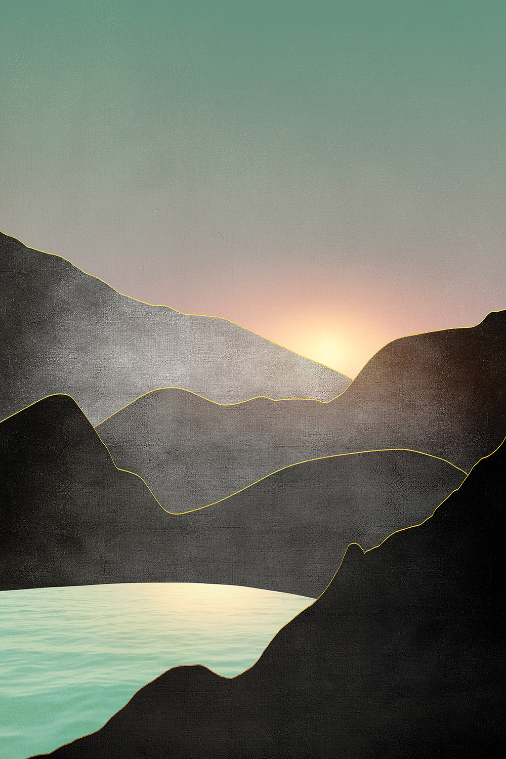 a sunset or sunrise over a few, minimalist mountains and a lake