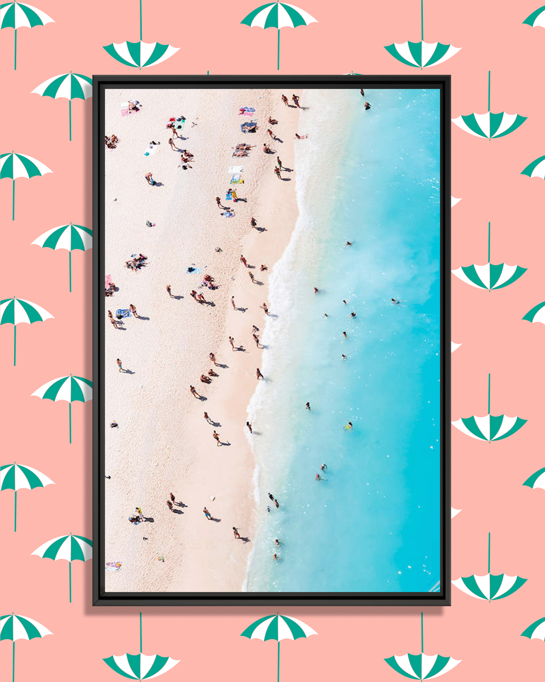 a beach with people as seen from above