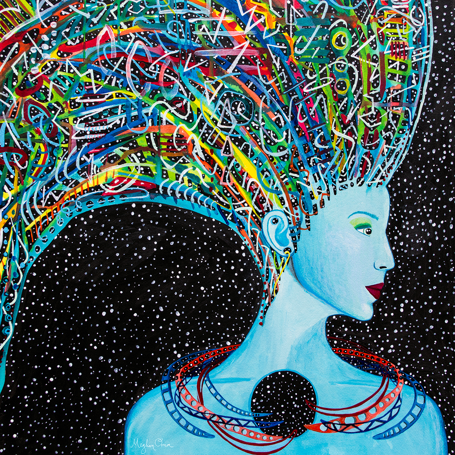 blue feminine being with large colorful hair wearing abstract necklaces surrounded by stars