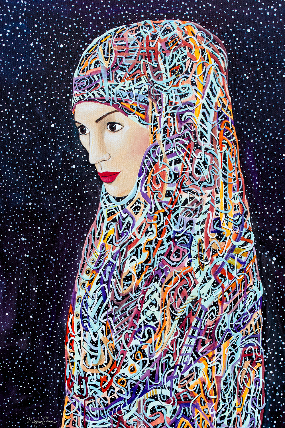 woman in colorful, abstract hijab standing among the stars