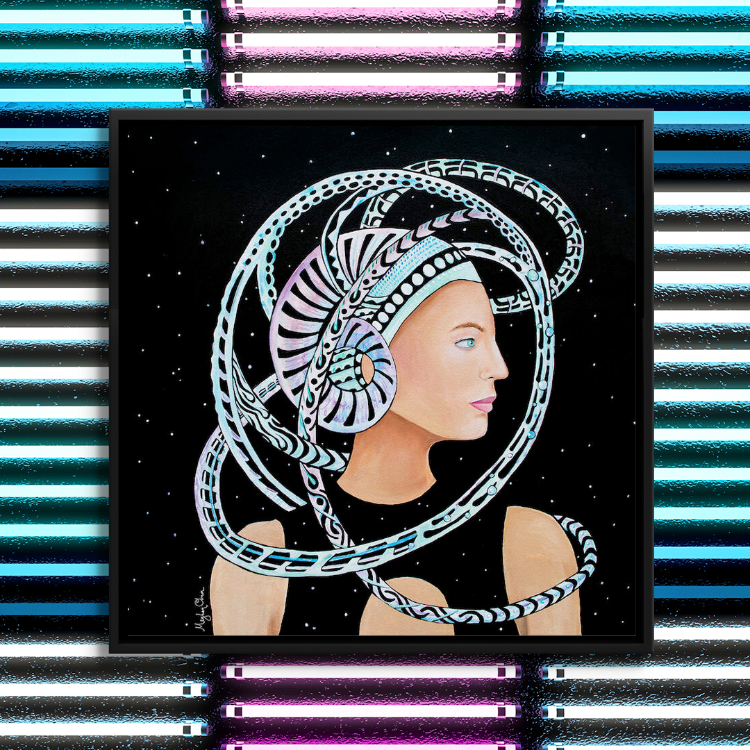 woman staring to the right wearing a futuristic abstract helmet among the stars