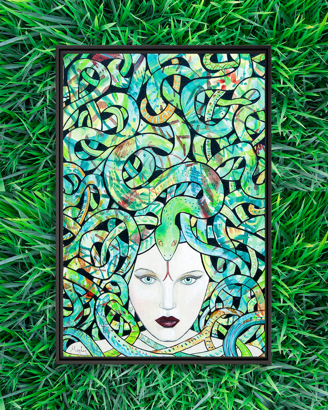 woman with medusa-like pattern and a green snake
