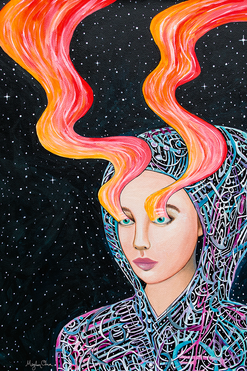 girl wearing hooded sweatshirt with abstract lines in space with bright red, yellow and gold streams drifting upward from her eyes