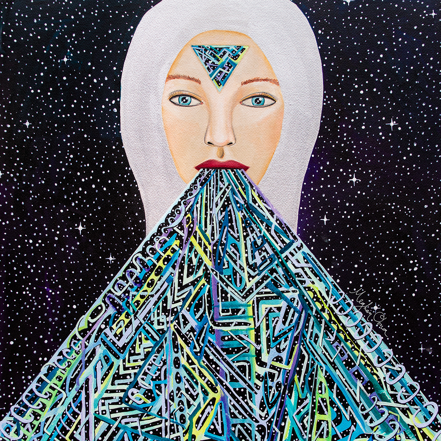 woman in space with triangle on forehead and shapes coming from mouth