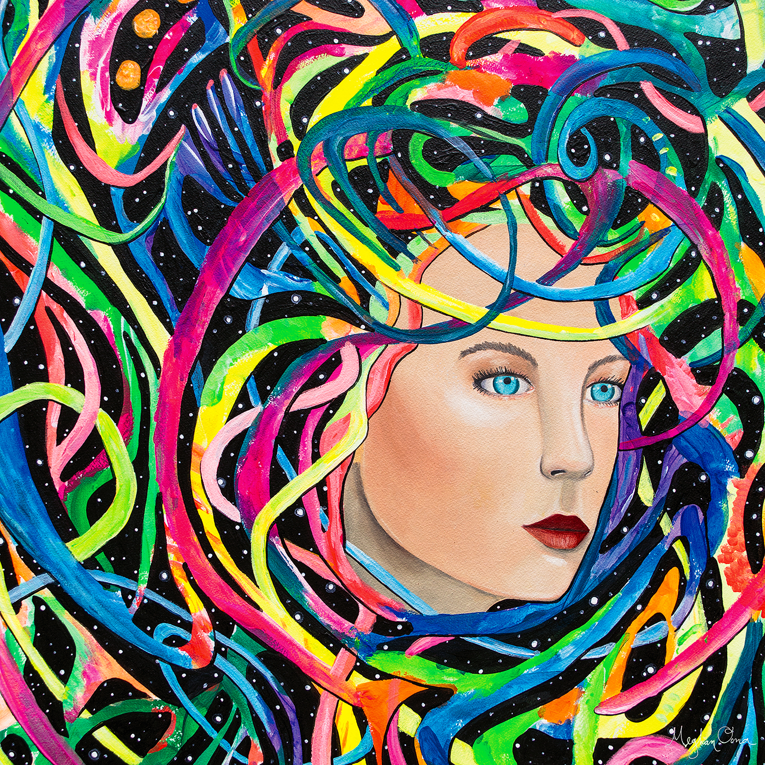 woman's face appearing from a web of colorful lines with night sky and stars in background
