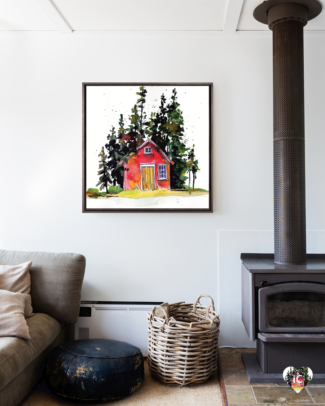 small red cabin surrounded by trees on white