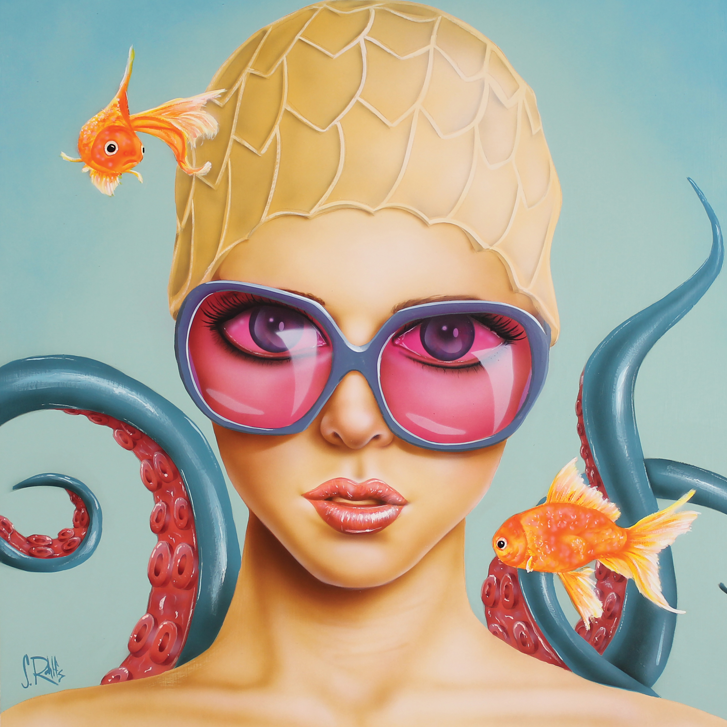 woman in swim cap wearing large sunglasses with tentacles in background, 2 goldfish nearby