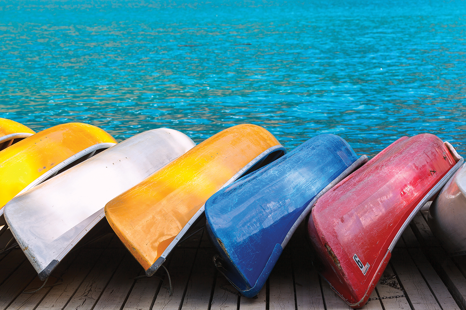 seven canoes including white, yellow, blue, and red, leaning on a dock by water