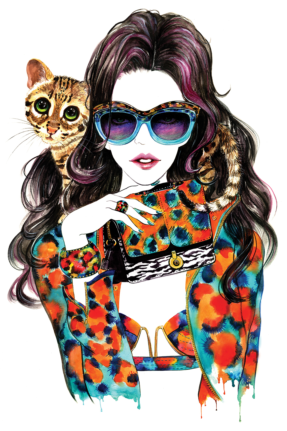 woman wearing large glasses with pink in hair and matching orange and blue patterned jacket, bra, ring, bracelet, and purse, with cat sitting on shoulder