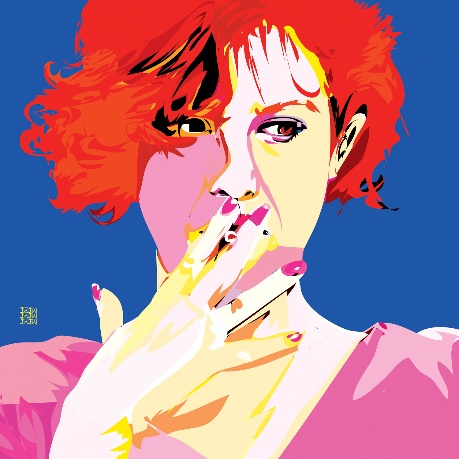 bright parody of Claire Standish character smoking a cigarette against blue backdrop