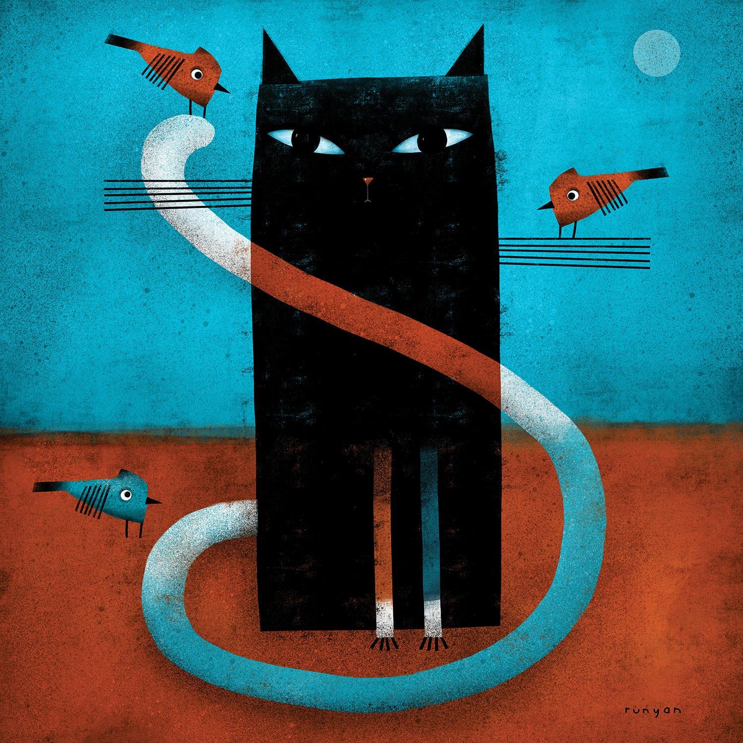 black cat with three birds and the moon