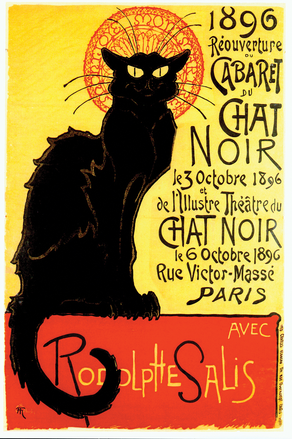 old parisian style poster with black cat