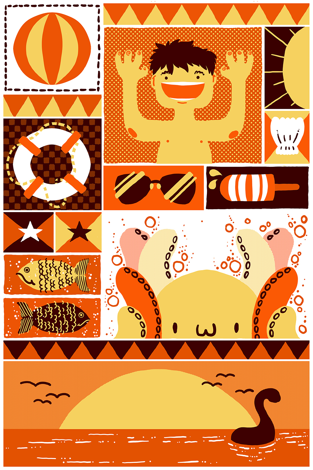an orange and white print showing many summer beach elements like ice cream, a beach ball, fish, and the sun
