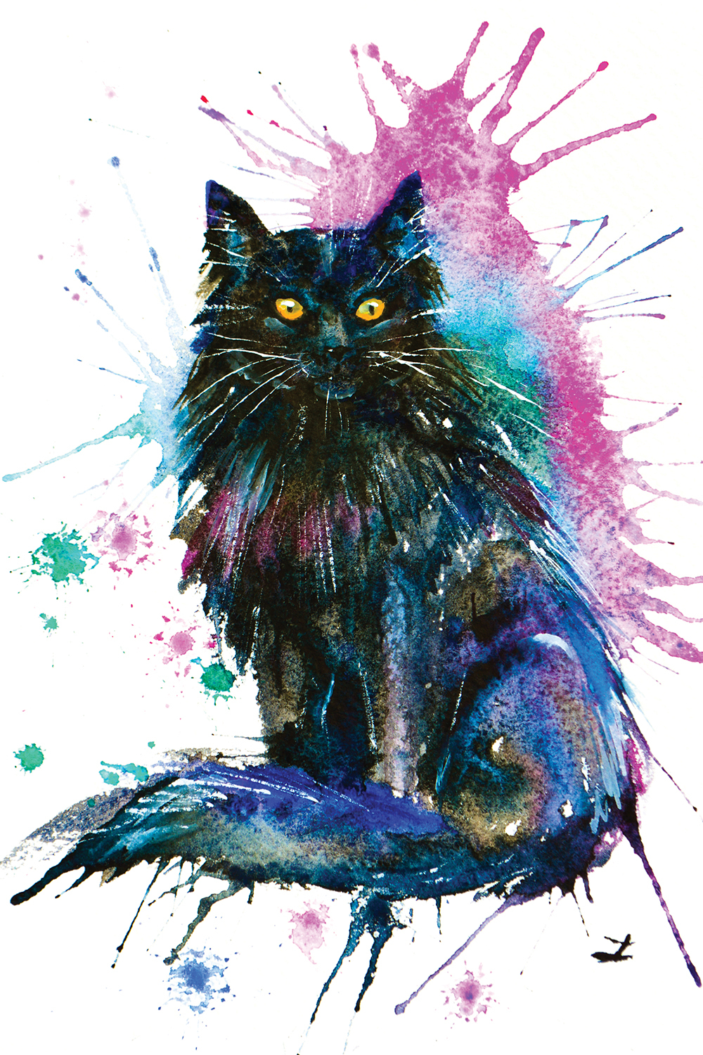 black cat watercolor with pink, purple, and blue